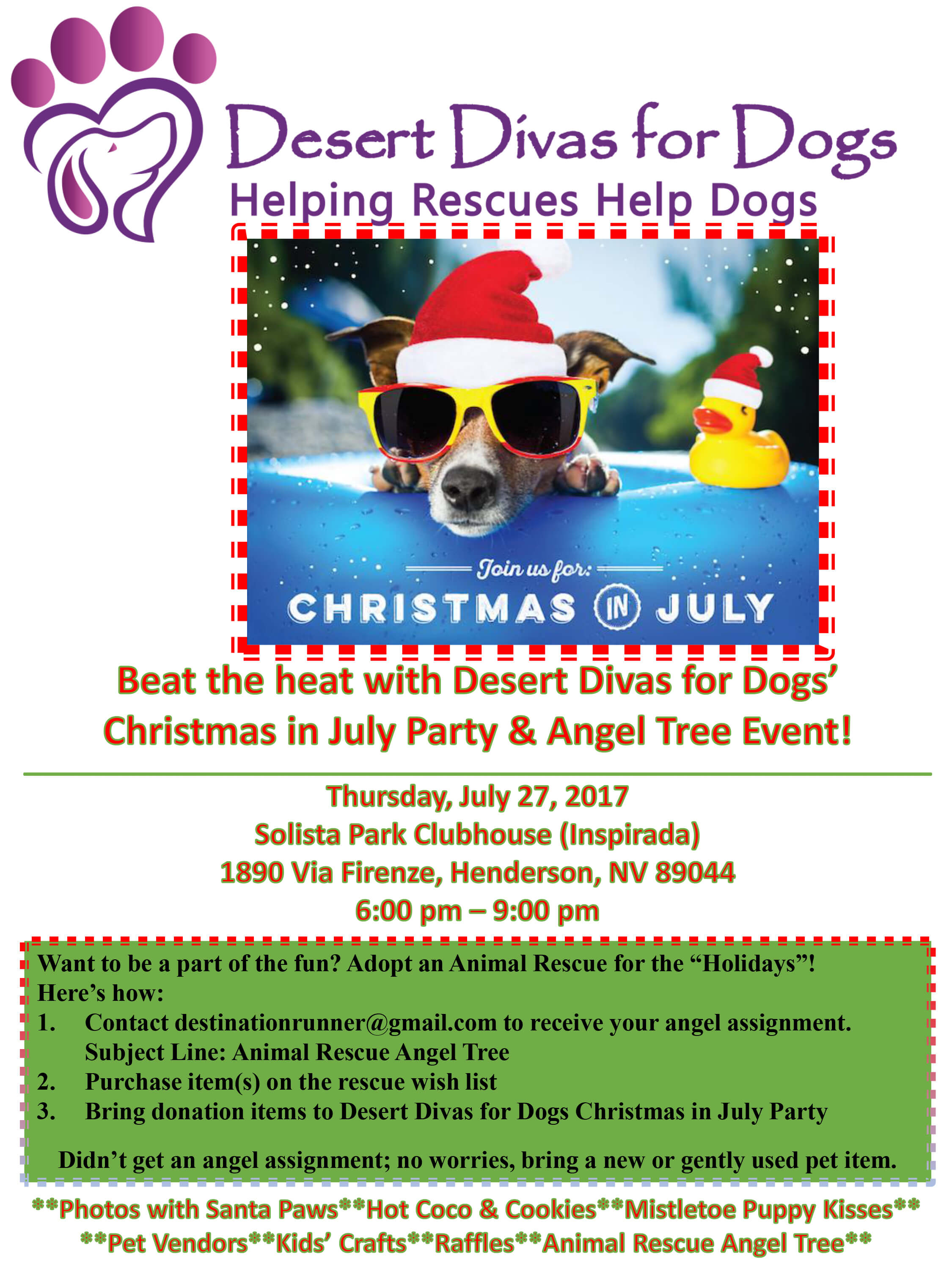 Desert Divas for Dogs : Christmas in July Event @ Solista Park Clubhouse (Inspirada) | Henderson | Nevada | United States